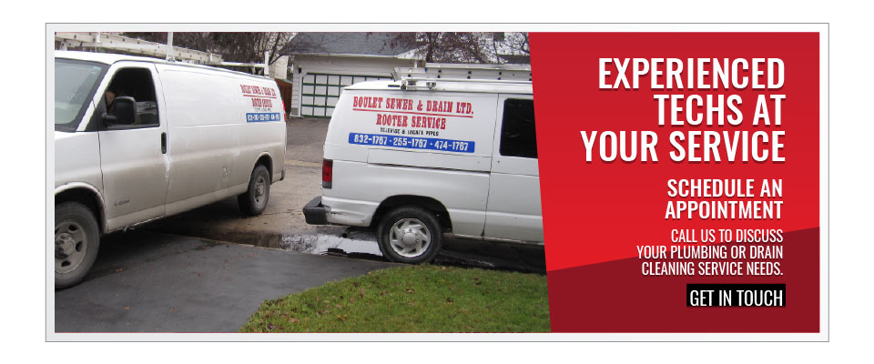 Service vehicles | Experienced Techs at Your Service | Schedule an Appointment: Call us to discuss your plumbing or drain cleaning service needs. - Get in Touch